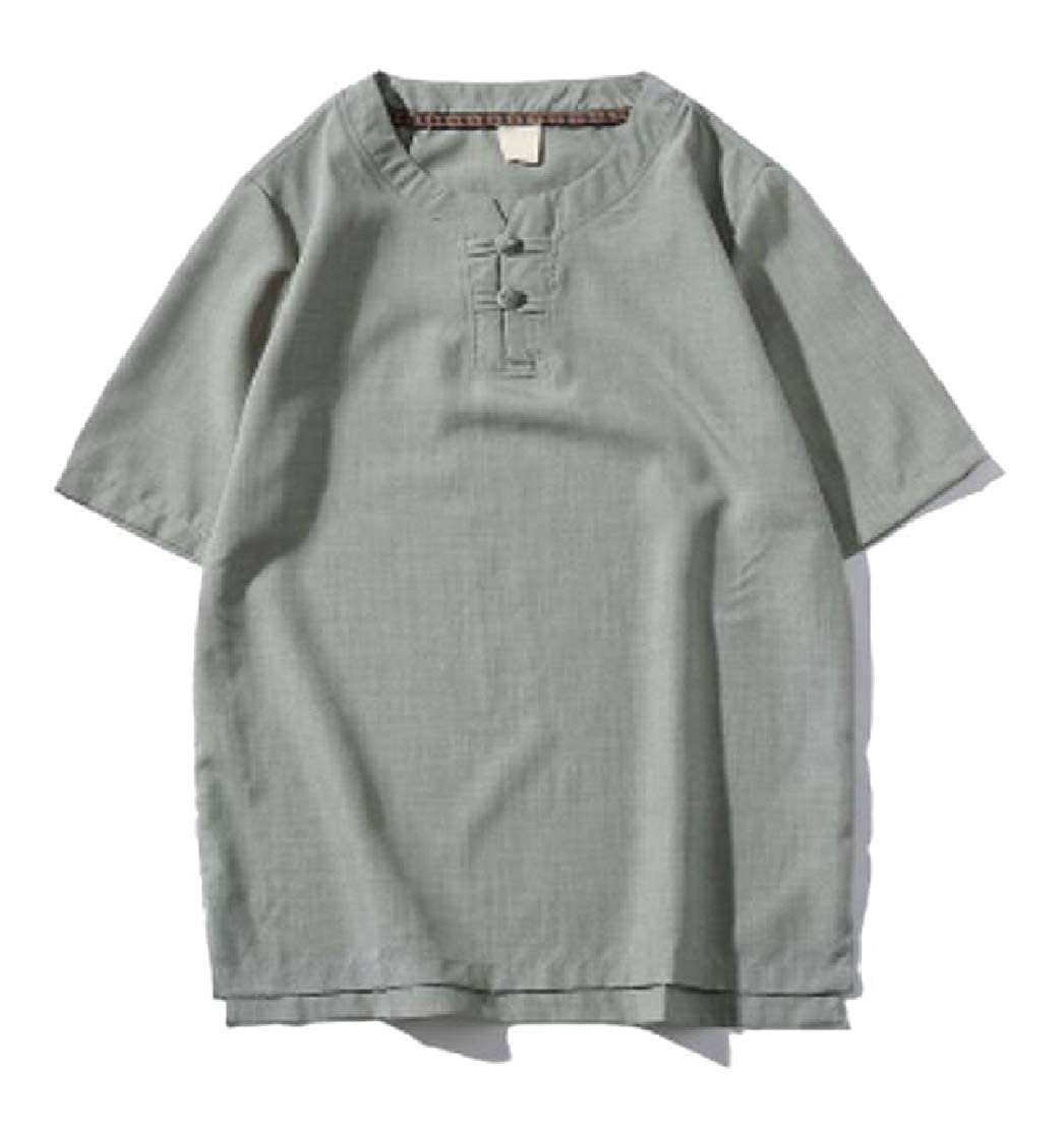 CYJ-shiba Mens Summer Cotton Linen Chinese Style Shirts Short Sleeves Tops