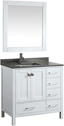 Luca Kitchen Bath LC36AWG Reno 36 White with Quartz Vanity Top in Gray Basin and Mirror