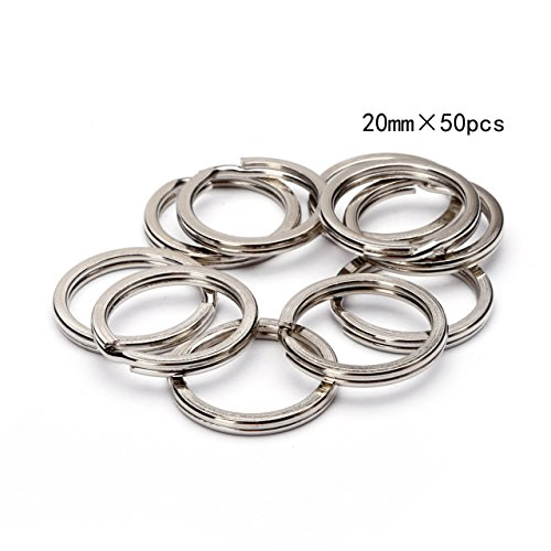 BRCbeads TOP Quality 20mm Nickle Plated Flat Edge Split Key Chain Ring 50pcs per Bag (4/5 inch) (Split Key Rings 20mm compare prices)