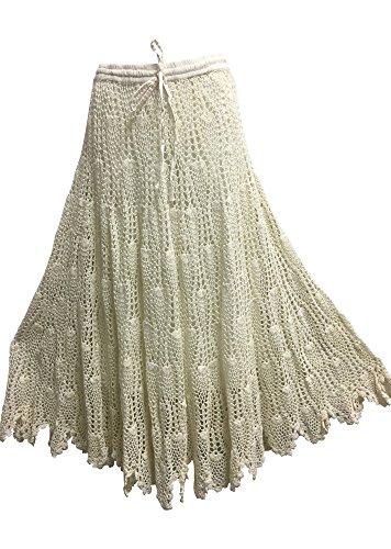 Missy Handwoven Crochet Indian Cotton Bohemian Trendy Fashion Long Skirt (Ivory)