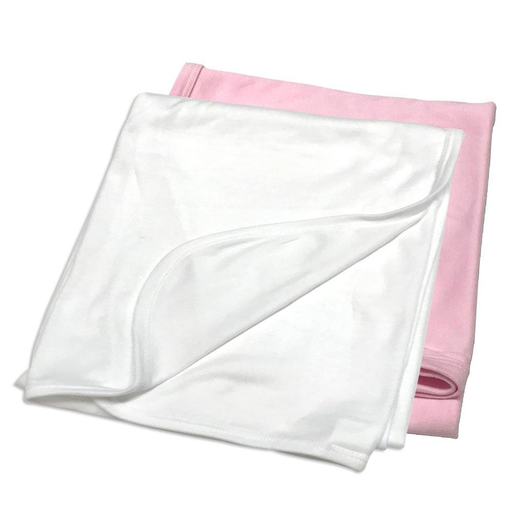 2-Pack 30X 40, White//Pink Laughing Giraffe Receiving Baby Blanket LGS3142