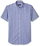 Bugatchi Men's Gingham Jacquard Slim Fit Short Sleeve Shirt, Plum, L