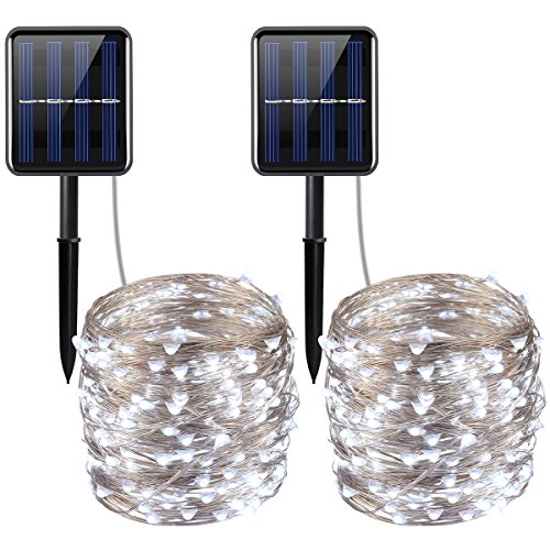 AMIR Solar Powered String Lights, 200 LED Copper Wire Lights, 72ft 8 Modes Starry Lights, Waterproof IP65 Fairy Christmas Decorative Lights for Outdoor, Wedding, Homes, Party (White - Pack of 2)
