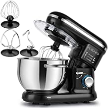 Albohes Classic Stand Mixer, 600W 6 Speeds 6 Quart Tilt-Head Compact Electric Kitchen Mixers with Stainless Steel Bowl/Double Dough Hooks/Whisk/Flat Beater/Pouring Shield (Black)