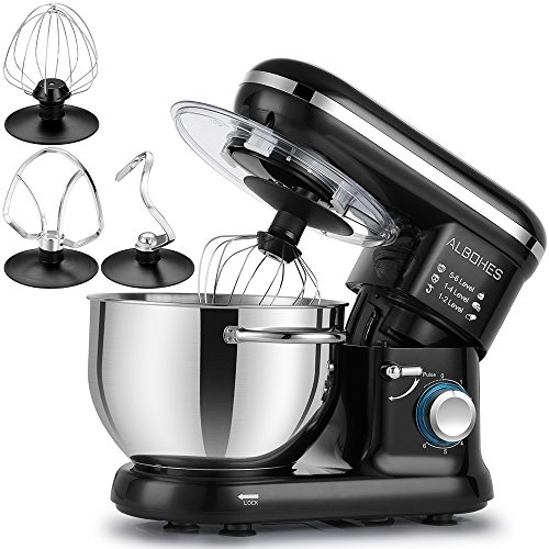 ALBOHES Stand Mixer, 600W 6 Quart 6-Speed Tilt-Head Dough Mixer, Electric Kitchen Mixers Food Mixer with Stainless Steel Bowl, Dough Hook, Whisk, Flat Beater, Pouring Shield (Black) ()
