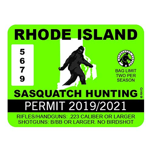 "Rhode Island Sasquatch Hunting Permit - Color Sticker - Decal - Die Cut - Size: 4.00"" x 3.00"""