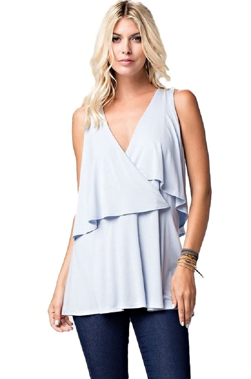 143 Story Baby Blue V Neck Layered Tank Top Button Back Unique