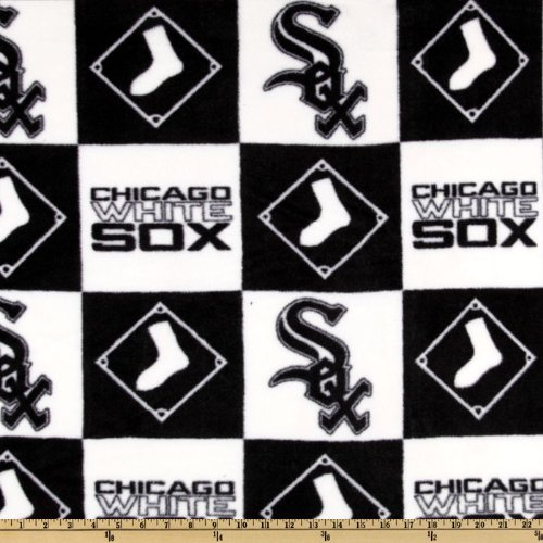 Fabric Traditions MLB Fleece Chicago White Sox Blocks Fabric by The Yard Black Chicago White Sox Fabric