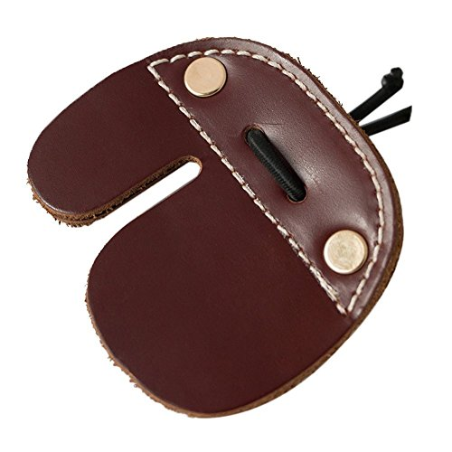 CyberDyer Cow Leather Archery Finger Tab For Recurve Bows Hunting Finger Protector Brown