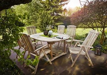 Terrassenmöbel teakholz  Amazon.de: SAM® Gartengruppe, 7 teilig, Gartenmöbel aus Teak-Holz ...
