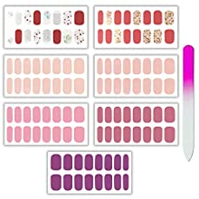 7 Sheets 112 Pieces Nail Polish Strips Warm Colors Full Nail Wraps Nail Art Stickers Decal Strips DIY Glitter Design Nail Adhesive Nail Polish Stickers for Women Teens Girls with a Glass Nail File