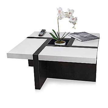 Melko couchtisch wohnzimmertisch weiß schwarz 80x80x35 cm beistelltisch designertisch holz