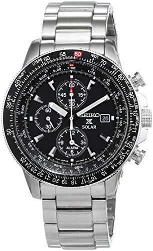 Flight Stainless Steel Watch - Seiko Men's SSC009 Solar Chronograph Silver Dial Flight Watch