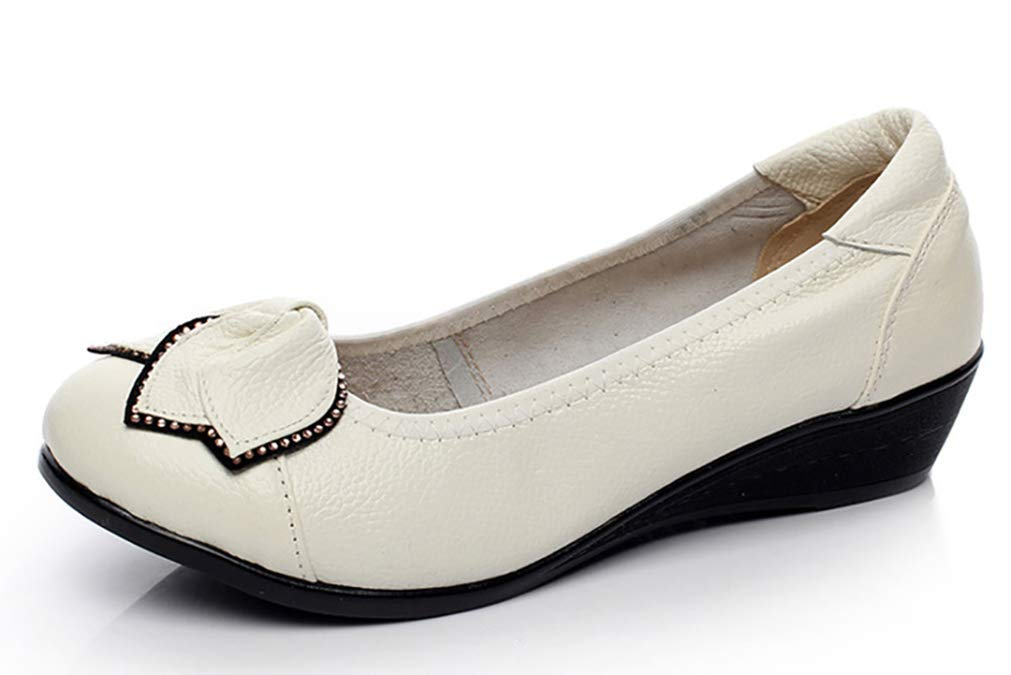 Women's Genuine Leather Comfort Low-Heeled Wedge Pump US Size 7 White