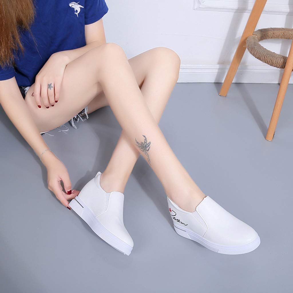 2019 New Women's Shoes, Claystyle Pu Solid Color Straps Casual Sports Shoes Thick Bottom Invisible Heightening Shoes White by Claystyle Shoes (Image #5)