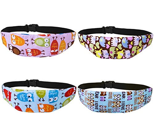 Leyaron 4 Pcs Toddler Car Seat Infants and Baby Head Support, Car Seat Neck Relief Head Strap, Safety Stroller Adjustable Head Holder Sleep Belt (Owl Toddler Car Seat Cover)