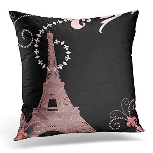 (Emvency Throw Pillow Cover French Girly Black and Pink Paris Eiffel Tower Parisian Decorative Pillow Case Home Decor Square 18 x 18 Inch)