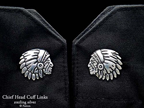 Chief Indian Head Cuff Links in Solid Sterling Silver Hand Carved & Cast by Paxton by Paxton Jewelry