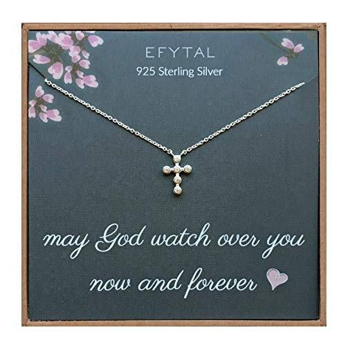 EFYTAL Small Cross Necklace for Women and Girls, Christian Gifts for Easter, First Communion, Confirmation, Baptism, Sterling Silver Dainty CZ, Tiny Pendant Jewelry, Religious Gift for Catholic Birthday from EFYTAL