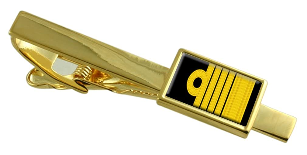 Royal Navy Insignia Rank Admiral of The Fleet Gold-Tone Tie Clip Engraved Message Box