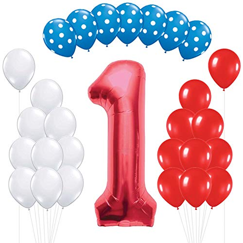 Doctor Seuss Birthday (Number 1 Red Mylar Balloon - Large, Pack of 28 | Red, White, Light Blue with Polka Dots Latex Balloons | 1st Birthday Party Decorations Supplies | First Party Backdrop)