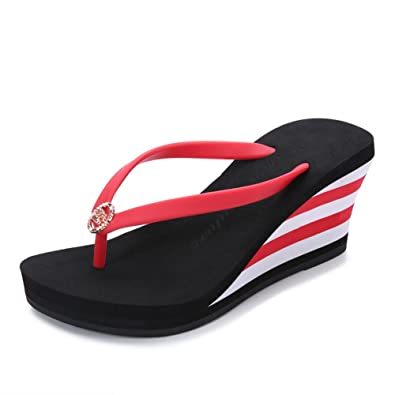 5de6cd588d2 T-JULY Womens Ladies Fishion Wedge Platform High Heel Flip Flops Slip On  Clip Toe