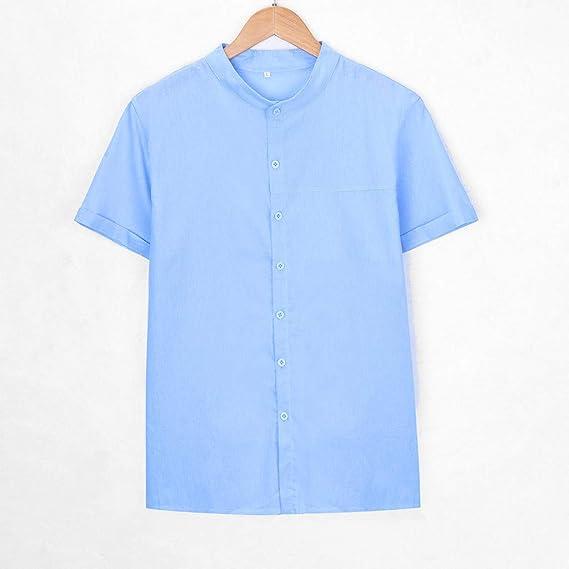 Adaoxy - Camisa para Hombre, Estilo Baggy, de algodón, de Lino, Manga Corta, Estilo Retro: Amazon.es: Ropa y accesorios
