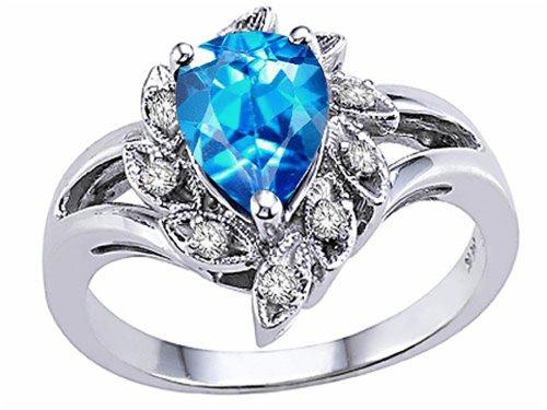 White Gold Pear Shape Ring - Tommaso Design Pear Shape 8x6mm Genuine Blue Topaz Ring 14 kt White Gold Size 8.5