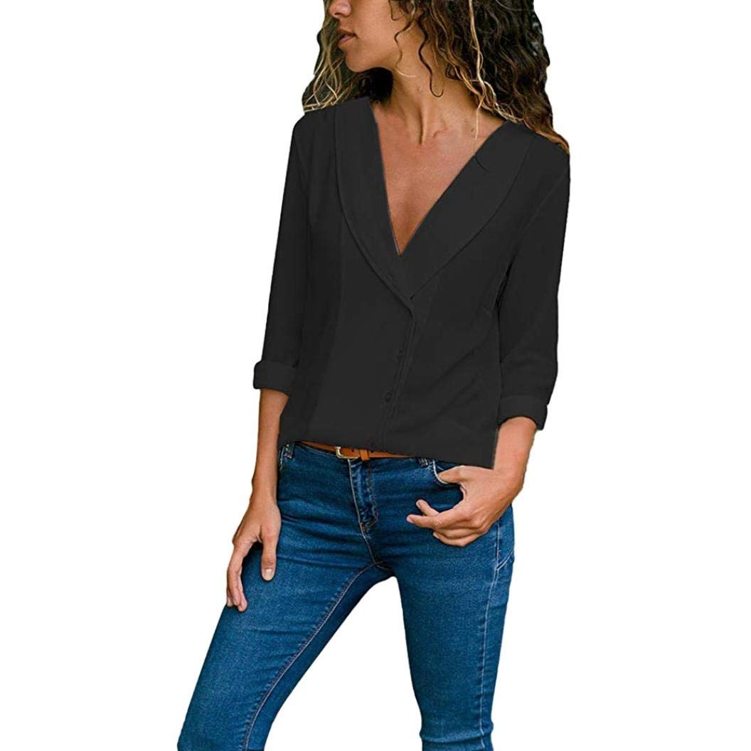 ODGear Women Chiffon Fashion Solid T-Shirt Office Ladies Plain Roll Sleeve Blouse Tops Clearance Hot (XL, Black #)