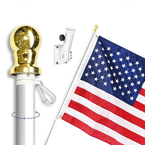 (Anley 6 Feet Tangle-Free Flagpole Kit, Aluminum Spinning Wall Mount Flag Pole with USA Flag and Mounting Bracket- Heavy Duty, Weather Resistant & Rust Free - Silver)