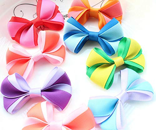 (Dalab 80pcs Medium Size 2 Tones Grosgrain Ribbon Bows Set 2.5 Inch Hair Bows for Girls, Toddlers, Boutique Deco)
