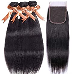 Brazilian Straight Human Hair Bundles wi...