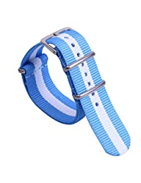 14mm Light Blue/White/Light Blue Preppy look Simple Women's One-piece NATO style Nylon Watch Bands Straps
