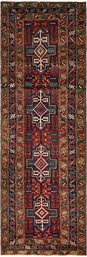 Gharajeh Persian Rugs - Geometric Hand Knotted Wool 3 feet by 11 feet (3' x 11') Runner Gharajeh Rust Red Persian Area Rug