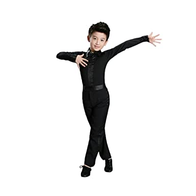 6554b28cdea Inlefen Dance Men s Latin Top Boys Dance Leotard Costumes Modern Latin  Ballroom Dance Wear White Black