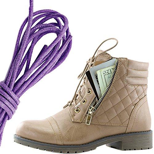 Dailyshoes Donna Militare Allacciatura Fibbia Stivali Da Combattimento Alla Caviglia Alta Tasca Esclusiva Per Carte Di Credito, Viola Beige Pu