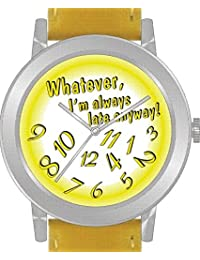 """Whatever"" Is the Theme on the Yellow Dial of the Large Round Polished Chrome Watch with Yellow Band"
