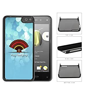 Happy Thanksgiving Cute Turkey On Blue Background Amazon Fire Hard Snap on Plastic Cell Phone Case Cover by lolosakes