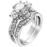 XAHH Women's 2 PCS Platinum Plated Ring Princess Cut 3 Cubic Zirconia Bridal Engagement Wedding Band Set 7