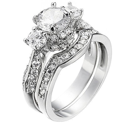 XAHH Women's 2 PCS Platinum Plated Ring Princess Cut 3 Cubic Zirconia Bridal Engagement Wedding Band Set Size 8
