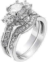 Women's 2 PCS Platinum Plated Ring Princess Cut 3 Cubic Zirconia Bridal Engagement Wedding Band Set