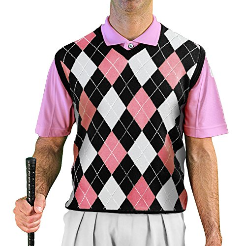 GolfKnicker Argyle V-Neck Golf Sweater Vests: Mens - Pullover - Black/Pink/White - X-Large