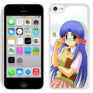 Popular And Unique Designed Cover Case For iPhone 5C With Girl Cute Schoolgirl Glasses Book white Phone Case