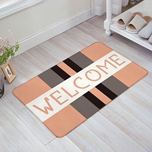 YEHO Art Gallery Doormat Dots Welcome Rectangular Color Blocks Geometry Pattern Pink Door Mat Beach Doormat Non-woven Fabric Top Doormat Indoor/Outdoor Floor Mat by 23.6