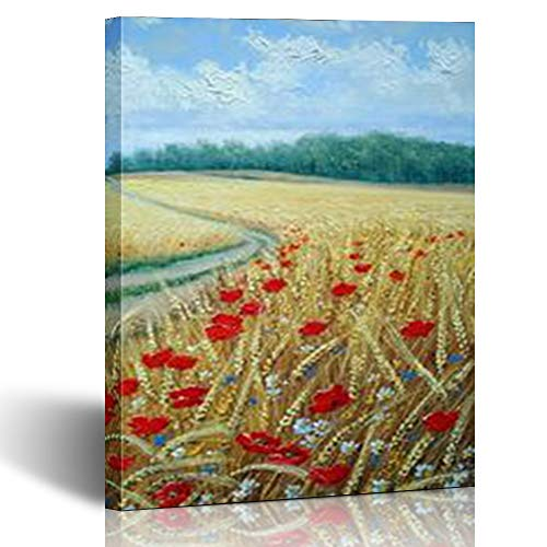 Armko Canvas Wall Art Prints Paintings Wheat Field Plant Poppies Nature 12 x 12 Inches Wooden Framed Painting Home Decor Bedroom Office ()