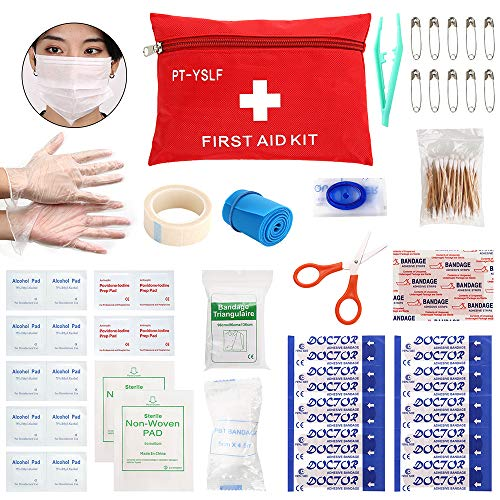 Mini First Aid Kit Medical Survival Bag,77 Piece Small First Aid Kit,Emergency CPR Face Mask,Compact for Emergency at Travel, Home, Office, Vehicle,Camping,Hiking, Workplace,Outdoor,Survival