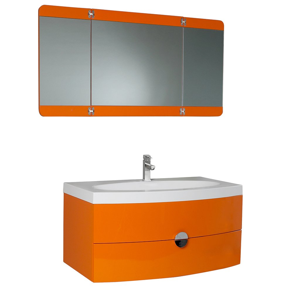 funky bathroom furniture. Fresca Bath FVN5092OR Energia Vanity With Three Panel Folding Mirror, Orange - Amazon.com Funky Bathroom Furniture A