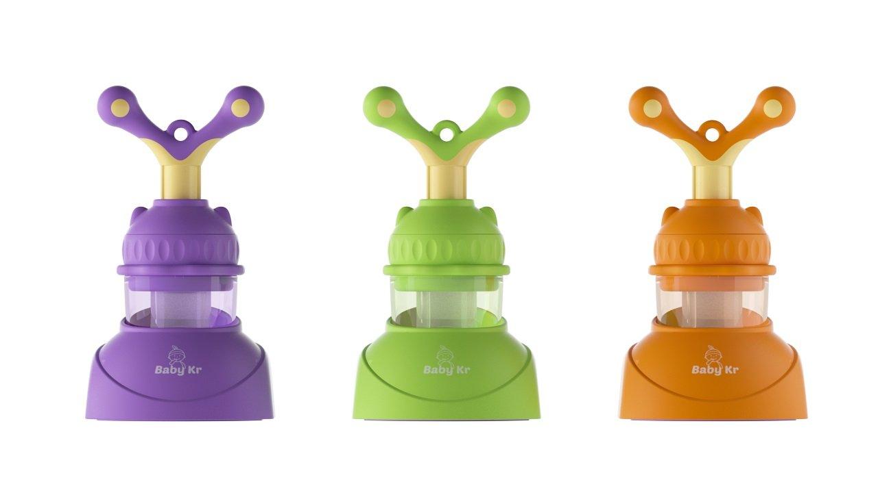 BabyKr Premium Silicone Baby Food Feeder, Cute Fresh Fruit Feeder Teething Toy Nibbler Teether Pacifier for Baby, (10 Greens + 10 Orange + 10 Purple), Set of 30