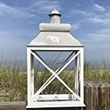 Whole House Worlds The French Country Style Rustic Lantern, Chateaux Style Roof, Raised Medallion, Gray Distressed Surface, Galvanized Metal Liner, Glass, Wooden Cross Post Panels, 27 ½'' T, By