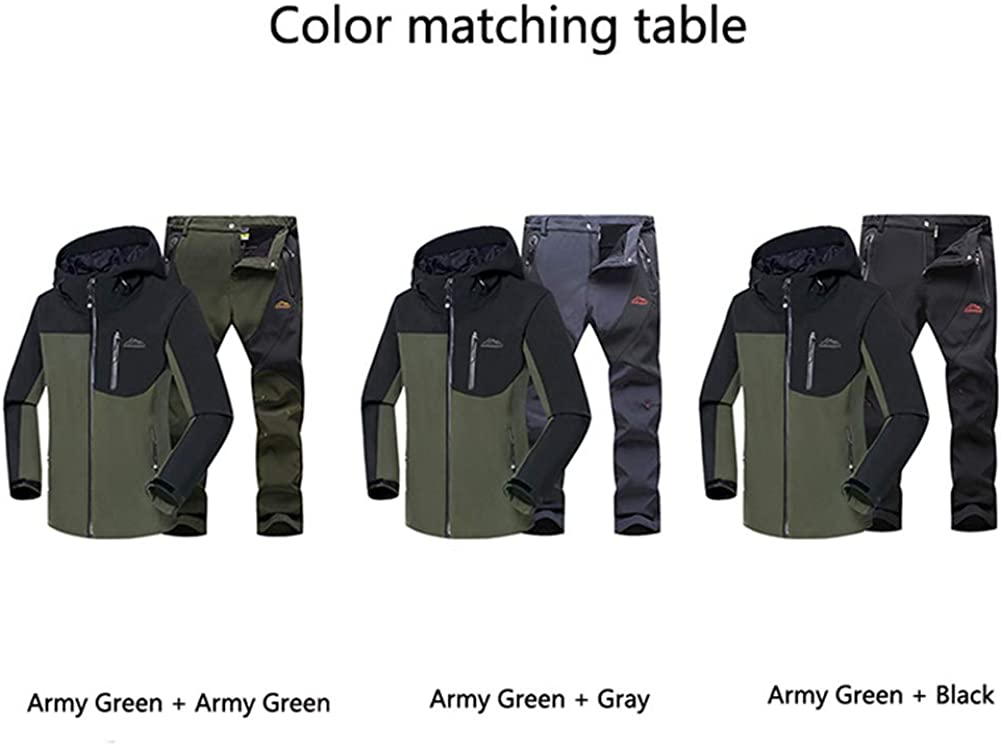 JIANYE Giacca Softshell Uomo Pantaloni Softshell Set Inverno Outdoor Traspiranti Giacca Trekking Pantaloni Trekking Army Green+grigio
